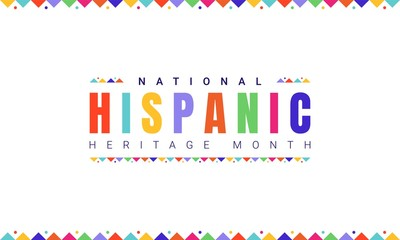 Fototapeta National Hispanic Heritage Month horizontal banner template with colorful text and flags on white background. Influence of Latin American heritage on a world culture obraz