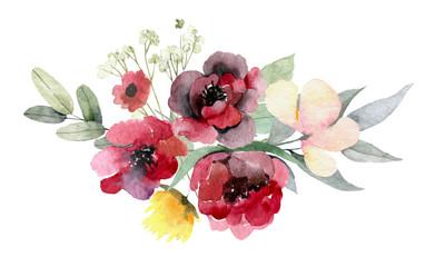 floral bouquet design: garden red, burgundy Rose flower, white peony, seeded Eucalyptus branch, amaranthus silver green fern leaves, Watercolor designer element. Wedding invite card, greeting
