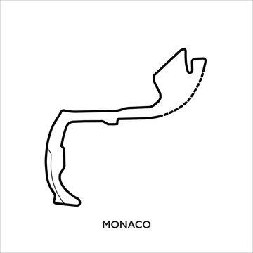 Monaco circuit, Monaco. Motorsport race track vector map