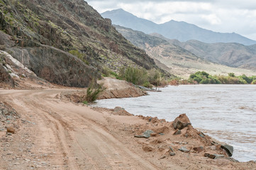 Orange River in flood on Namibia and South Africa border