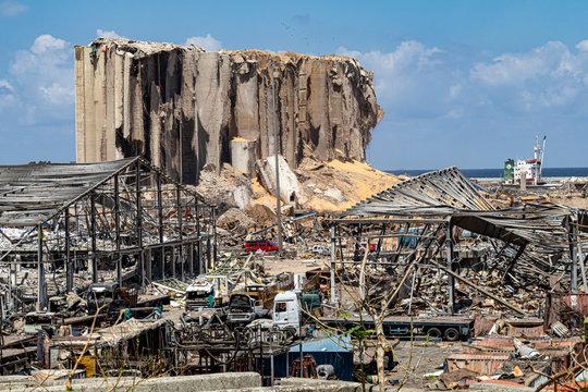 Massive blast/explosion site that happened at Beirut Port in Beirut, Lebanon
