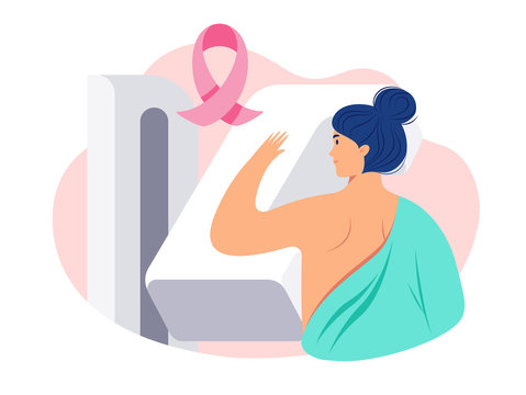 Illustration of a woman getting a breast cancer screening test / mammogram on x-ray machine in a hospital. Breast Cancer Awareness concept. Pink breast cancer ribbon, mammography machine - vector