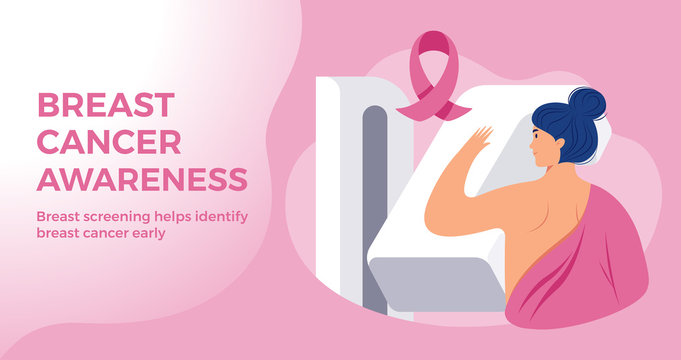Breast Cancer Awareness month pink banner template - a woman at hospital breast cancer screening with a breast cancer pink ribbon on pink background. Vector illustration flat style