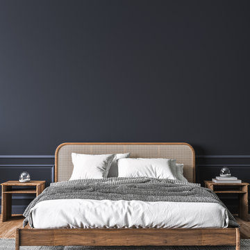 Dark bedroom interior mockup, wooden rattan bed on empty dark wall background, Scandinavian style, 3d render