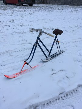 Home made skibob from old bicycle