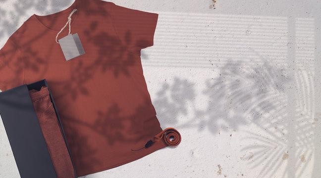 Birgundy T- shirt Mockup White Background - Top View