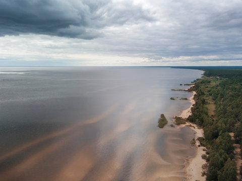 Coastline, sandy beach, dunes and shallows Lake Peipsi, Estonia, drone photo