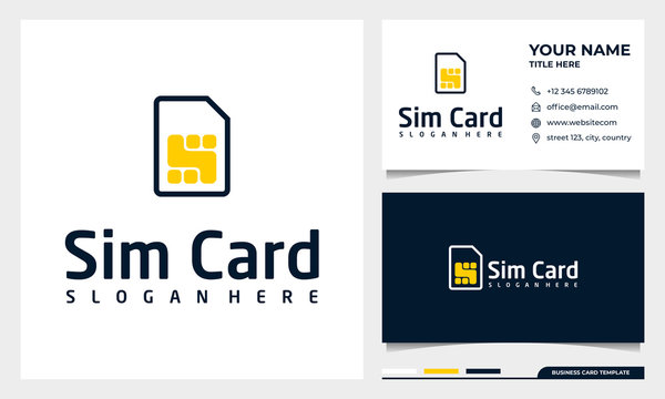 Sim card line icon, logo outline vector sign with business card template
