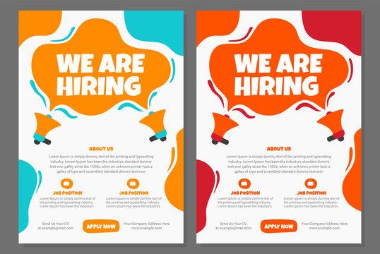 Hiring Job flyer, We are hiring Job advertisement flyer template, Vector