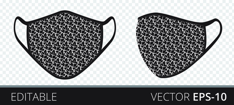 Set medical mask with patterned fabrics to protect against infection, polluted air and transmission of coronavirus covid-19. Vector illustration. Isolated on transparent background.