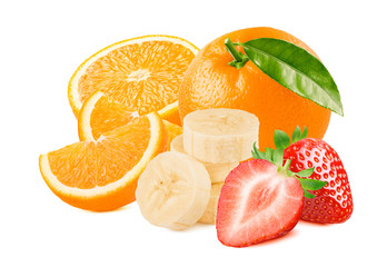 Oranges, strawberries and banana slices isolated on white background.