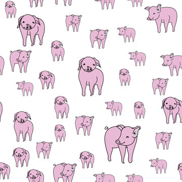 Piggies Seamless pattern with pigs repeated on white background. Vector illustration. surface design