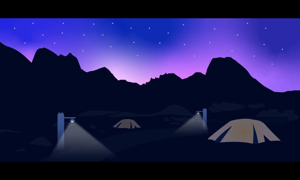 Two Tent on Mountain Illustration Design