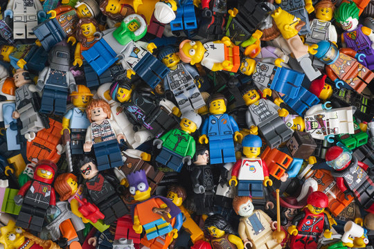 Tambov, Russian Federation - August 26, 2020 Heap of Lego minifigures.