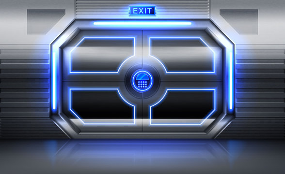 Metal door with exit sign, neon glowing and panel with buttons for password insert. Sliding gates in spaceship . shuttle or secret laboratory entrance, ski-fi bunker. Realistic 3d vector illustration