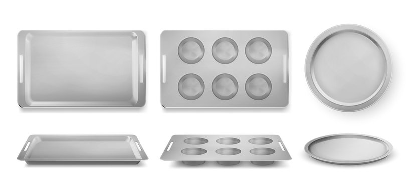 Trays for baking muffins, pizza and bakery top and front view, empty tin pans, isolated rectangle and round forms. Kitchen utensil for oven, silver metal dishes for cooking, Realistic 3d vector set