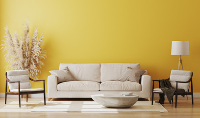 Yellow room interior, living room interior mockup, empty yellow wall, 3d rendering