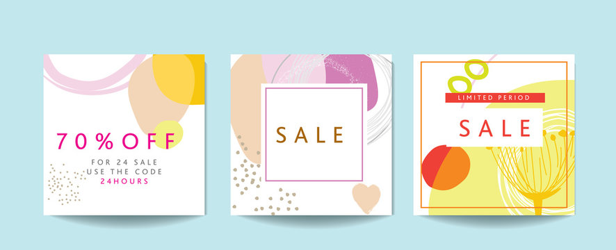 Scandinavian art and graphic design inspired blank SALE templates templates