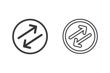 Diagonal Flipping Arrows rubber seal stamp watermark. Line Icon set vector symbol. Sticker on a white background Papier Peint
