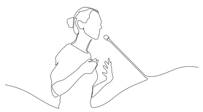 Continuous line drawing business presentation woman trainer talking one single line drawn character politics speaker, business coach speaking before audience Political meeting speech