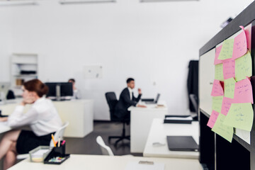 Fototapeta Routine office work in a large car insurance company. Rank and file Managers and heads of departments