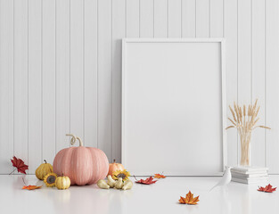 Mock up interior design with frame on white wooden plank wall. Autumn seasonal background with pumpkins. 3d render 3d illustration