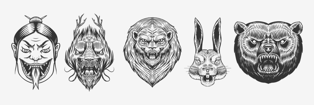Grizzly bear, lion and Hare. Screaming mad Leo and rabbit. Chinese dragon. Japanese woman snake. Animal for tattoo or label. Roaring beast. Engraved hand drawn line art Vintage old monochrome sketch.