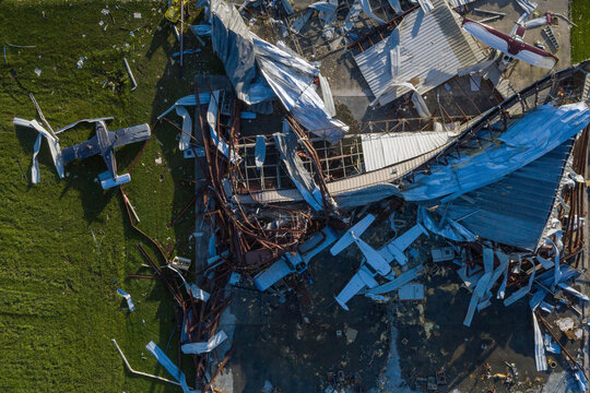 Destroyed planes lie damaged around a hanger in the aftermath of Hurricane Laura in Sulphur, Louisiana,