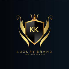 KK Letter Initial with Royal Template.elegant with crown logo vector, Creative Lettering Logo Vector Illustration.