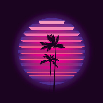 Original vector illustration in neon style. Palm trees on the background of a neon sunset in the retro style of the 80's. T-shirt design.