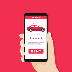 Hand holding smartphone with car icons and rent a car button on screen. vector