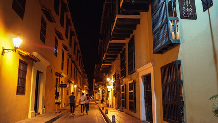 narrow street in the old town of Cartagena Colombia - Centro Historico