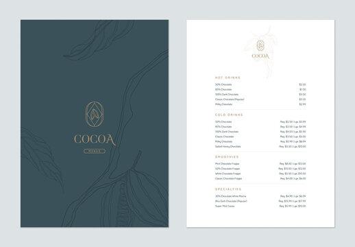 Beverage menu template design, line art illustration of cocoa beans in blue tone