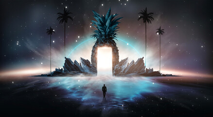 Fotomurales - Abstract fantasy background. Night landscape with a magical island, pineapple, reflection in the water, palms. 3d illustration.