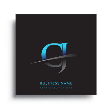 initial letter CJ logotype company name colored blue and green swoosh design.
