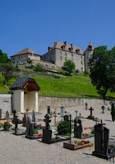 Gruyeres castle and cemetery