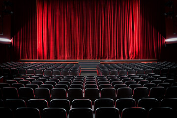Fototapeta Darkened empty movie theatre and stage obraz