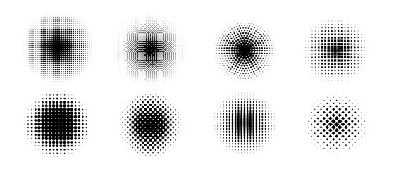 Halftone vector. Monochrome Abstract dot, Gradient halftone dots for background pattern and texture.