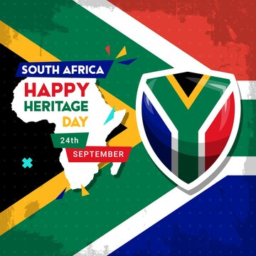 Happy South Africa Heritage Day - 24 September - square vector banner template with the South African flag and African continent. Celebrating and honoring African culture, beliefs and traditions