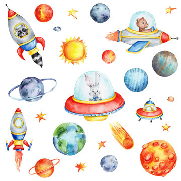 Big cosmic set with cartoon spaceships, planets, sun and stars; watercolor hand draw illustration; can be used for stickers or kid posters; with white isolated background