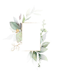Watercolor invitation Card design with leaves. background with floral elements , botanic watercolor illustration. Vintage Template. Herbal frame