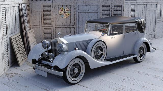 Oldtimer-Cabrio in einer angemessenen Umgebung