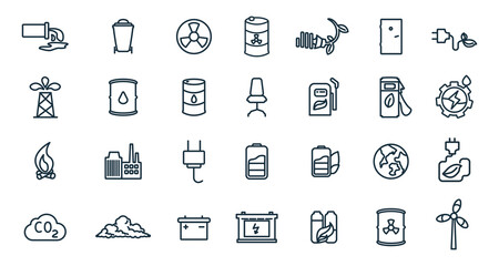 Fototapeta Eco line icon set with, chemical waste, nuclear pollution, battery, global warming, factory, alternative energy, energy saving bulb