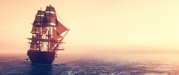 Photo sur Plexiglas Morning Glory Pirate ship sailing on the ocean at sunset