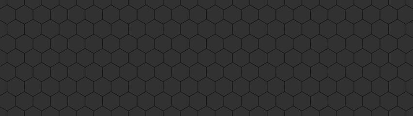 Photo sur Plexiglas Artificiel Abstract seamless black anthracite dark gray grey concrete cement stone tile wall made of hexagonal geometric hexagon print texture background banner panorama