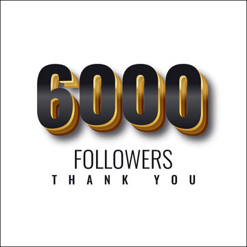 Thank you 6000 followers 3d illustration template design