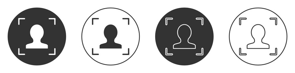 Black Face recognition icon isolated on white background. Face identification scanner icon. Facial id. Cyber security concept. Circle button. Vector.
