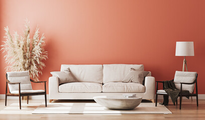 Red room interior, living room interior mockup, empty red wall, 3d rendering