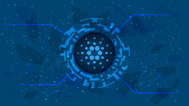 Cardano token symbol in a digital circle with a cryptocurrency theme on a blue background. ADA coin icon. Digital gold for website or banner. Copy space. Vector EPS10.