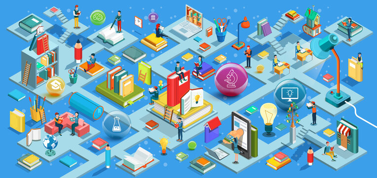 The process of education, the concept of learning and reading books in the library and in the classroom. University studies. Isometric flat design. Vector illustration